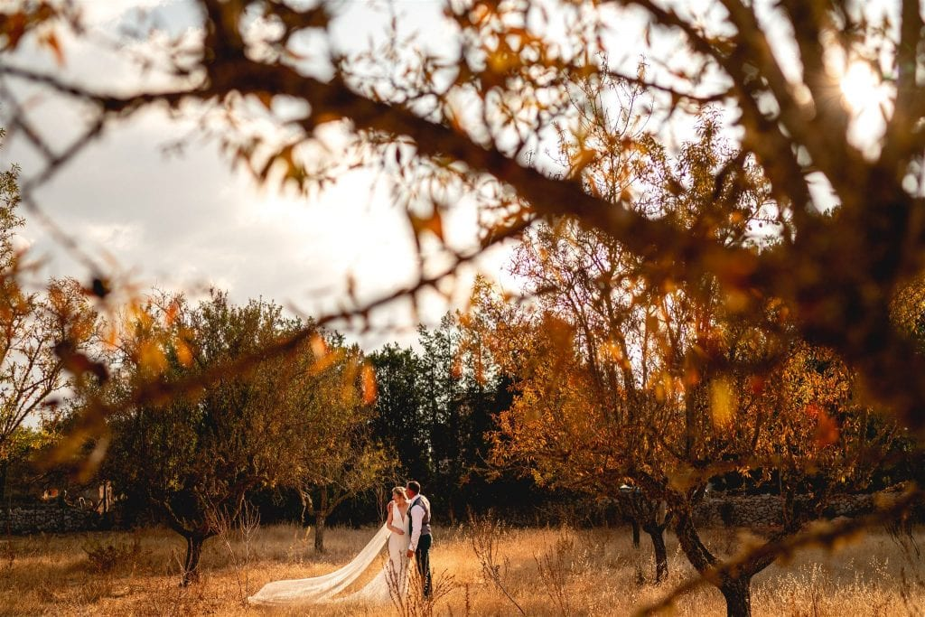 A wedding photography portrait of a couple in Mallorca